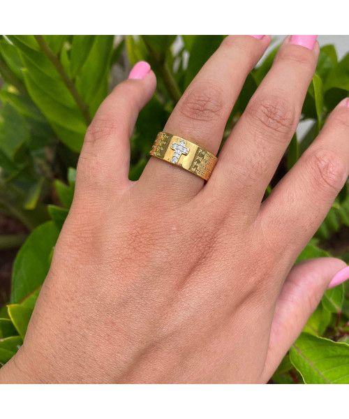 Aliança Anel em Ouro 18k/750 Pai Nosso com Diamantes