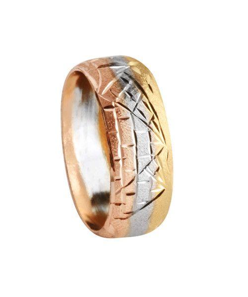 Anel em Ouro 18k/750 Escrava 8mm Tricolor Abaulada Diamantada