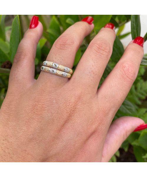 Anel em Ouro 18k/750 Par Aparador Tricolor Fosco Diamantado