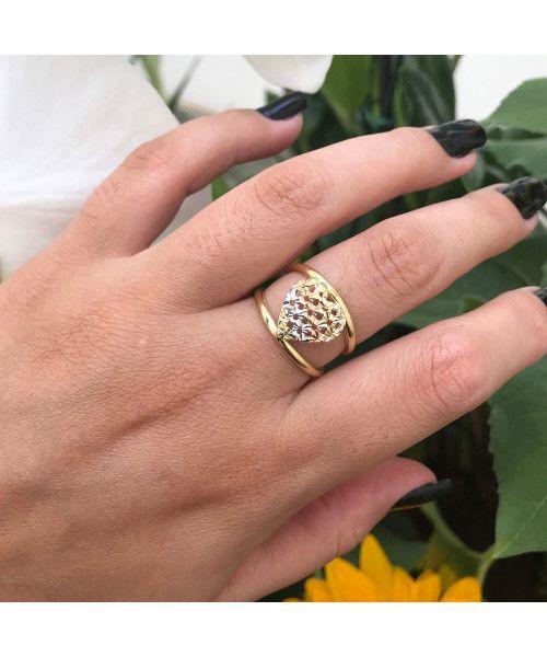 Anel em Ouro 18k/750 de Coração Tricolor Diamantado