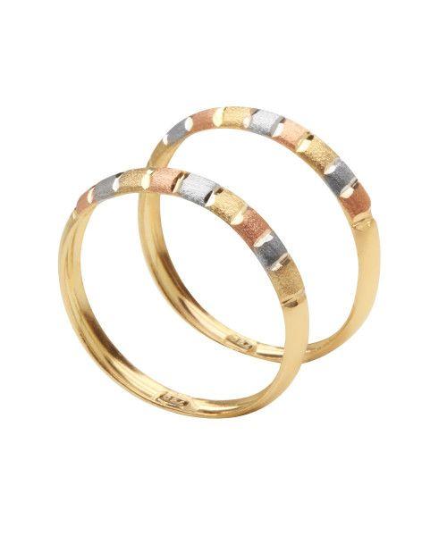Anel em Ouro 18k/750 Par Aparador Tricolor Diamantado Quadrados