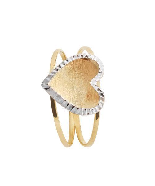Anel em Ouro 18k/750 Aro Duplo Coração Bicolor Diamantado e Fosco