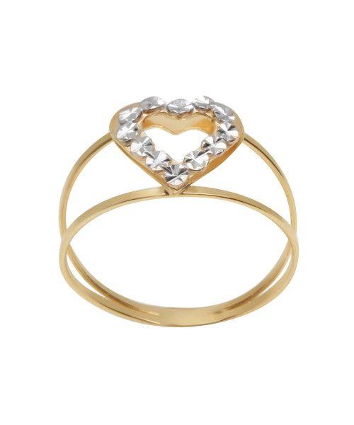 Anel em Ouro 18k/750 Aro Duplo Coração Bicolor Diamantado