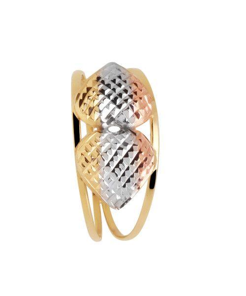 Anel em Ouro 18k/750 Aro Duplo com Dois Corações Tricolor Diamantado