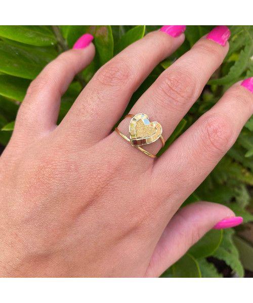 Anel em Ouro 18k/750 Aro Duplo com Coração Diamantado e Martelado