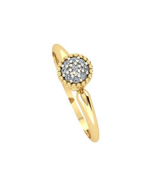 Anel em Ouro 18k/750 Chuveiro Redondo com Banho em Ródio e Diamante