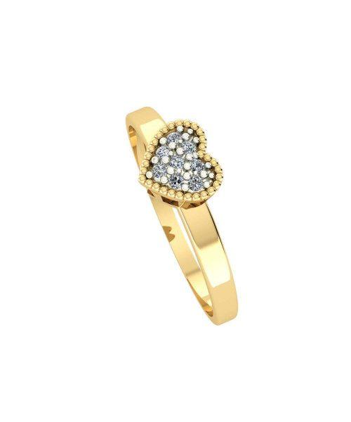 Anel em Ouro 18k/750 de Coração com Diamante