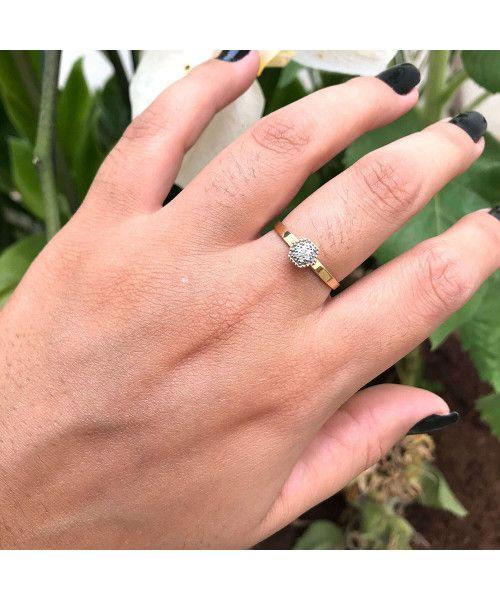 Anel em Ouro 18k/750 Hexagono Pequeno com Diamante
