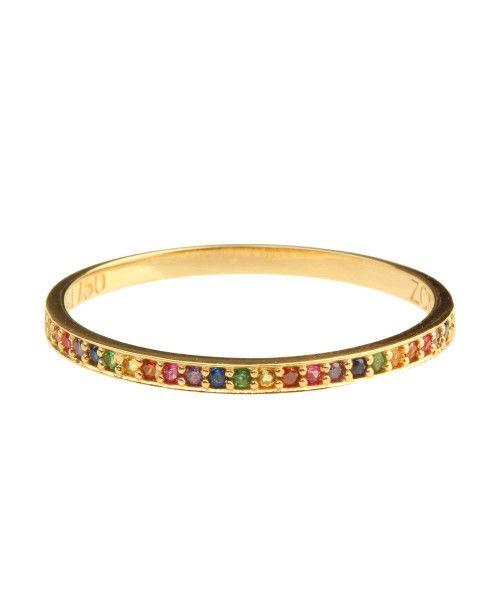 Anel em Ouro 18k/750 Meia Aliança Rainbow Colorido