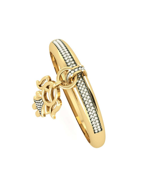 Anel em Ouro 18k/750 Menina Falsa Pedra com Pingente