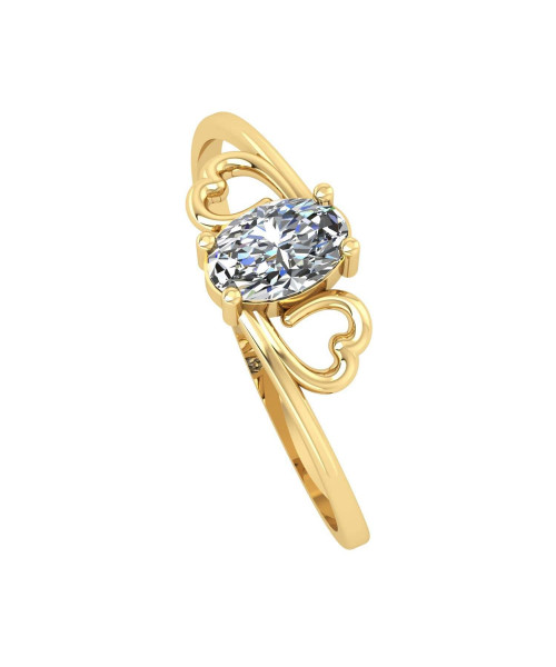 Anel em Ouro 18k/750 Corações e Pedra de Zircônia Oval