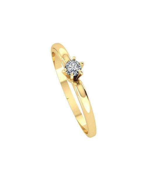Anel em Ouro 18k/750 Solitário com Diamante 3mm Aro Trabalhado