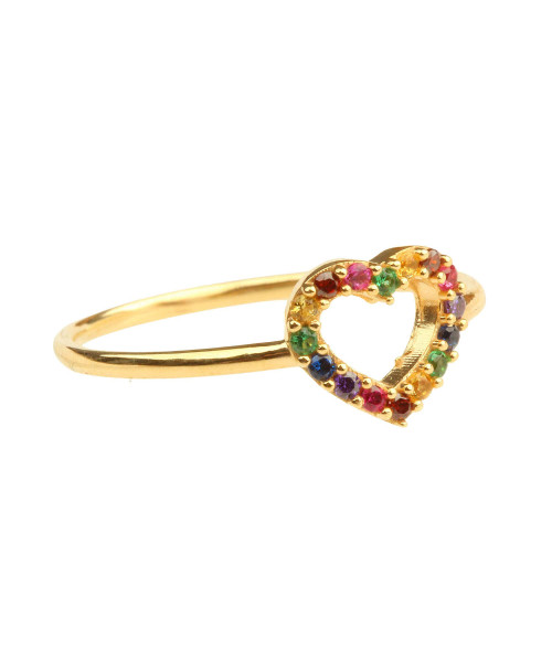 Anel em Ouro 18k/750 Coração Rainbow Colorido