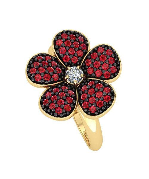 Anel em Ouro 18k/750 Flor com Zircônias Vermelhas e Ródio Negro