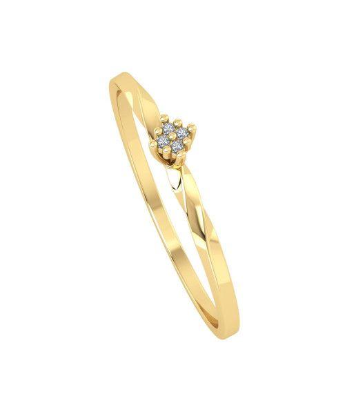 Anel em Ouro 18k/750 Chuveiro Aro Torcido com Diamante