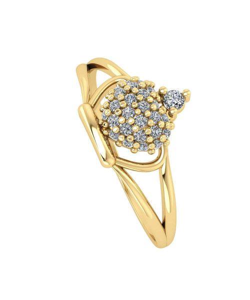Anel em Ouro 18k/750 Aro Duplo Coroa com Zircônia