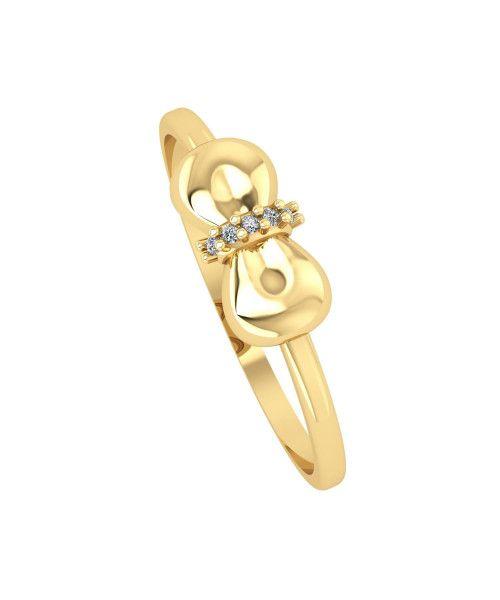Anel em Ouro 18k/750 Laço com Cinco Diamante