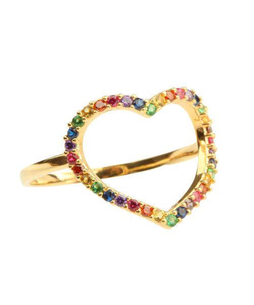 Anel em Ouro 18k/750 Coração Grande Rainbow Colorido