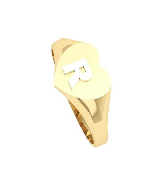 Anel em Ouro 18k/750 Chancela Coração e Letra Branca Pequeno
