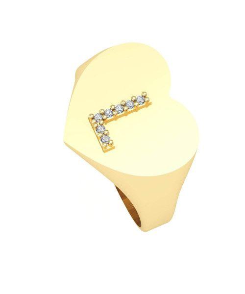 Anel em Ouro 18k/750 Chancela Coração com Letra Cravejada Grande