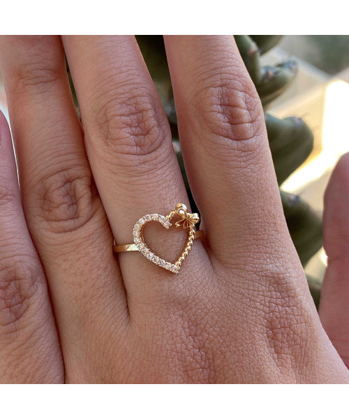 Anel em Ouro 18k/750 Coração com Bolinhas e Laço