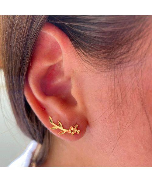 Brinco em Ouro 18k/750 Ear Cuff Raminho Diamantado