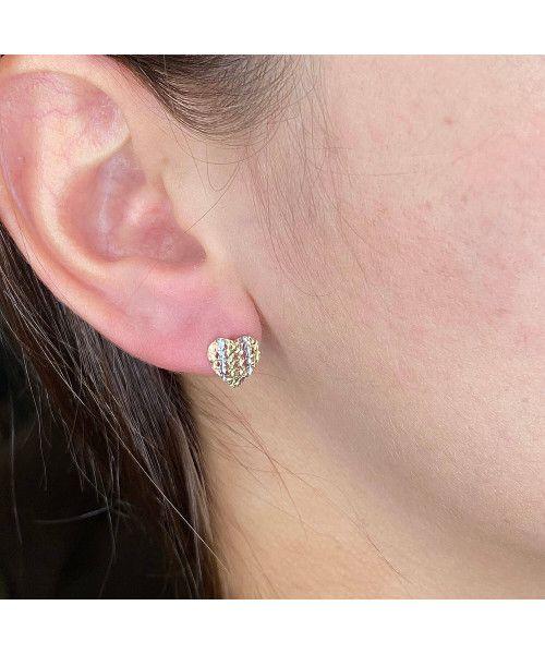 Brinco em Ouro 18k/750 Coração Tricolor Filetes Diamantados