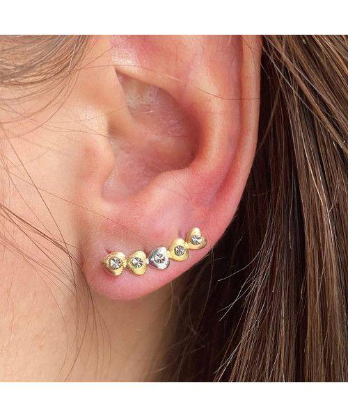Brinco em Ouro 18k/750 Ear Cuff Cinco Corações Tricolor