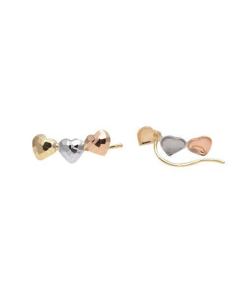 Brinco em Ouro 18k/750 Ear Cuff Três Corações Tricolor