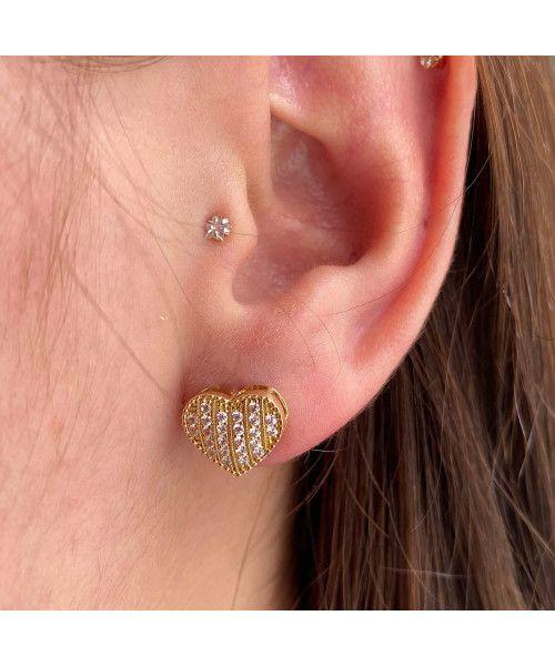 Brinco em Ouro 18k/750 Chuveiro Coração com Pedras de Zircônias e Detalhes em Bolinha