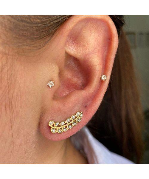 Brinco em Ouro 18k/750 Ear Cuff Ramo