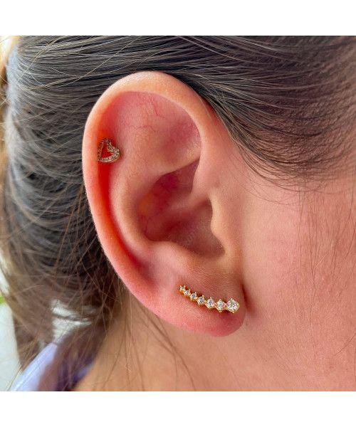 Brinco em Ouro 18k/750 Ear Cuff Crescente