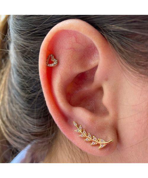 Brinco em Ouro 18k/750 Ear Cuff Crescente Seta