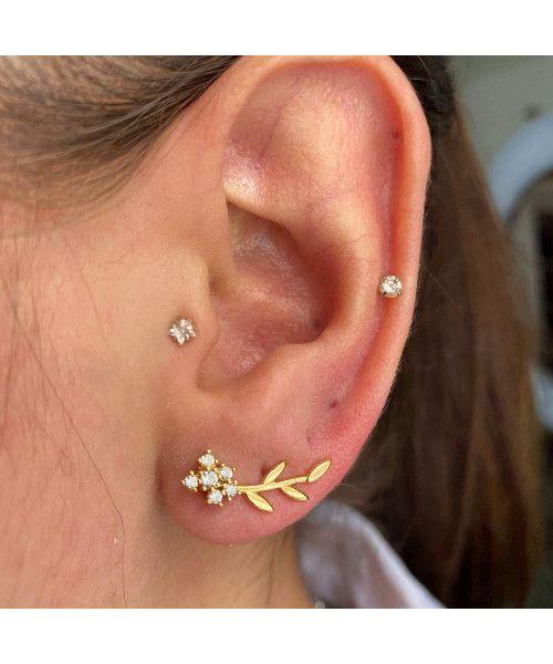 Brinco em Ouro 18k/750 Ear Cuff Raminho com Pedras