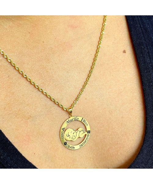 Pingente em Ouro 18k/750 Menino Nascimento Personalizado