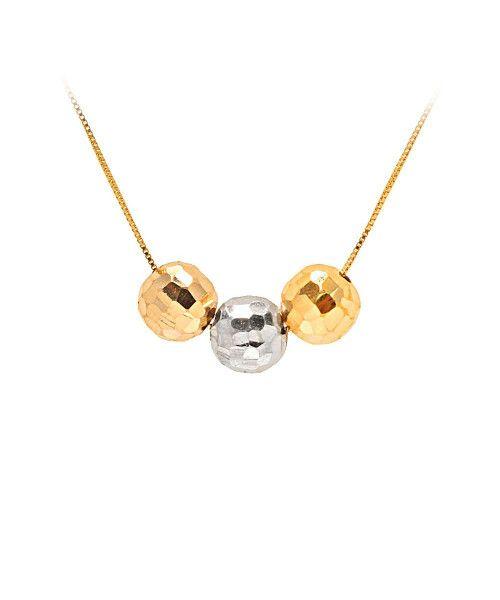 Gargantilha em Ouro 18k/750 3 Bolas 7mm Diamantada 45cm Com Ajuste em 40cm
