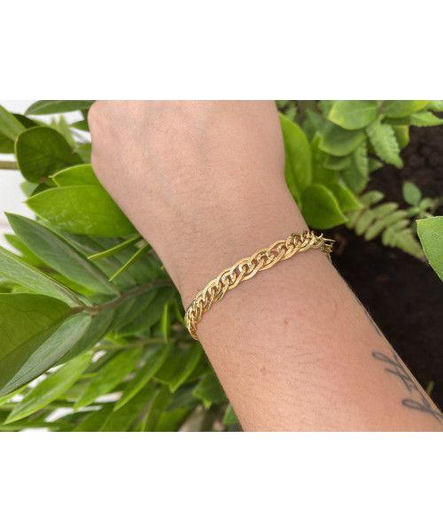 Pulseira em Ouro 18k/750 Malha Romana Achatada Média 19cm