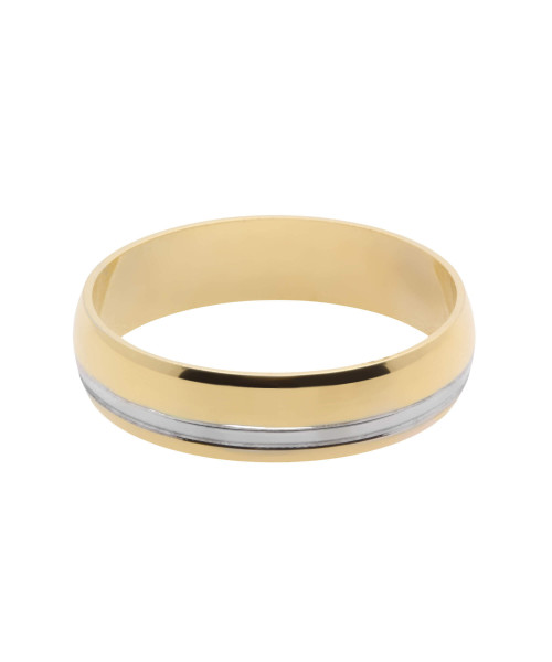 Aliança em Ouro 18k/750 Comfort com Fio de Ouro Branco