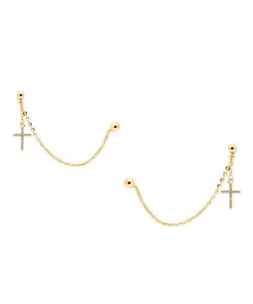 Brinco e Piercing em Ouro 18k/750 Bolas com Cruz Cravejada