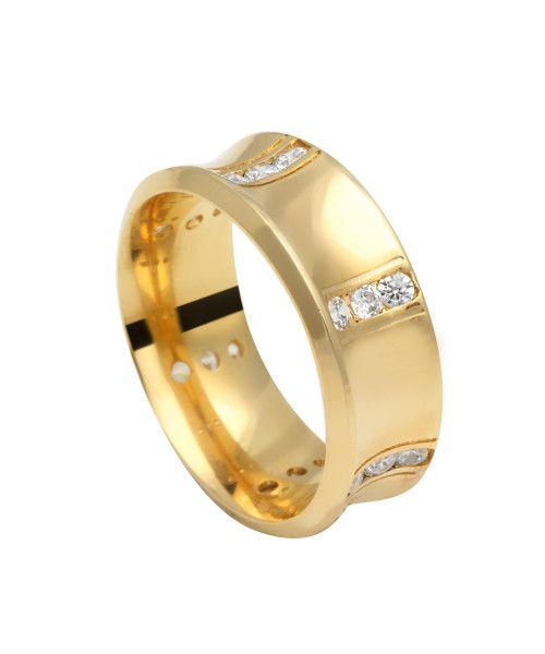 Aliança em Ouro 18k/750 Comfort com Pedras