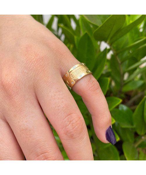 Aliança em Ouro 18k/750 Amor Eterno com Pedras