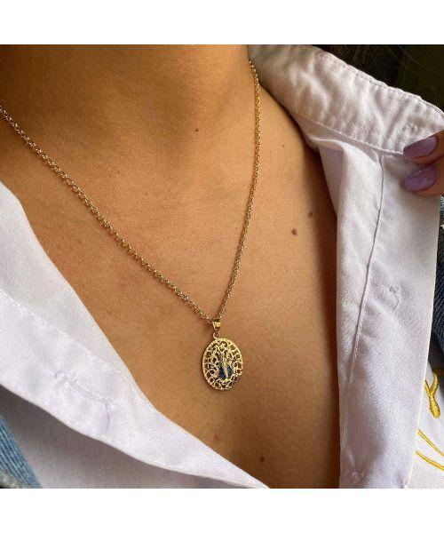 Pingente em Ouro 18k/750 Nossa Senhora Aparecida com Safira Natural