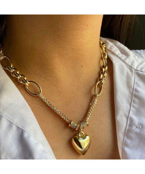 Gargantilha em Ouro 18k/750 Elos Ovais com Pingente de Coração