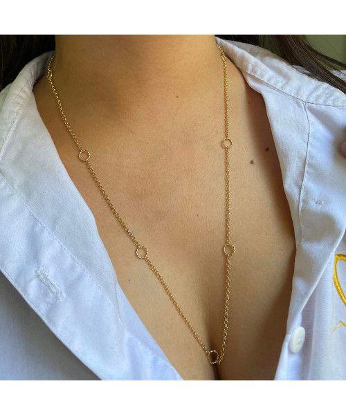Corrente em Ouro 18k/750 Portuguesa com Argolas Diamantadas 60cm