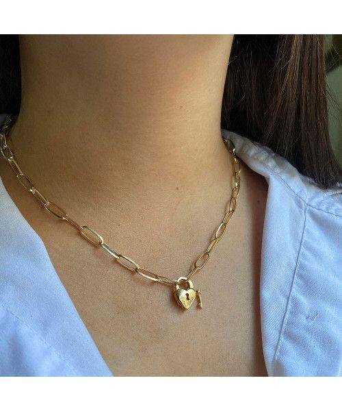 Gargantilha em Ouro 18k/750 Cartier com Fecho Coração Cadeado 45cm