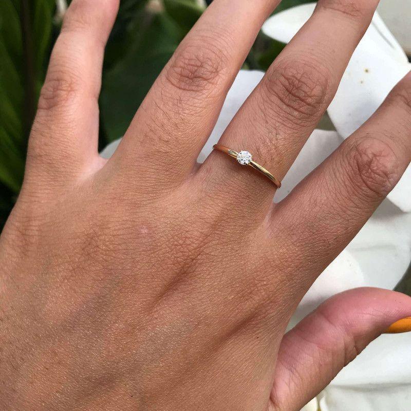 Anel em Ouro 18k/750 Solitário Aro Liso com Diamante 3mm