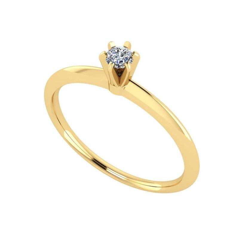 Anel em Ouro 18k/750 Solitário com Diamante 3mm Aro Liso