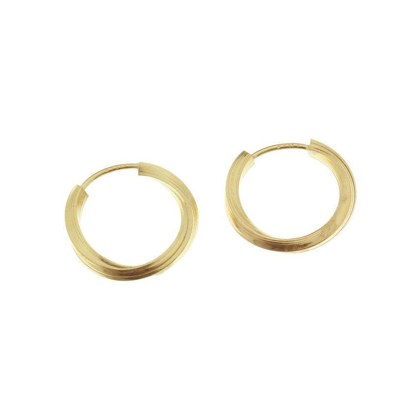Brinco em Ouro 18k/750 Argola Redonda Torcida 0,9x0,9cm