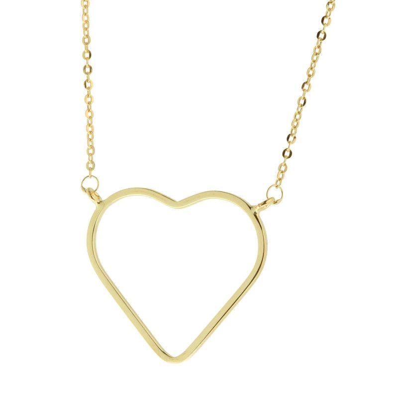 Gargantilha em Ouro 18k/750 Bailarina com Coração Liso G
