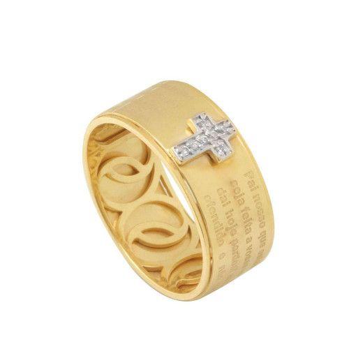 Aliança Anel em Ouro 18k/750 Pai Nosso Forrado com Diamantes